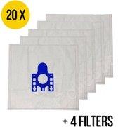 JML Commerce - Stofzuigerzakken geschikt voor Miele G,N,H & classic C1 complete C2/C3 - Stofzuigerzakken Miele - 20 stuks + 4 filters – Stofzuiger met Zak – AM-02 Microfiber