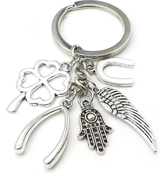 Symbolisch cadeau nieuw huis Sleutelhanger tashanger met gelukshangertjes klavertje vier hoefijzer wishbone angelwing hamsa