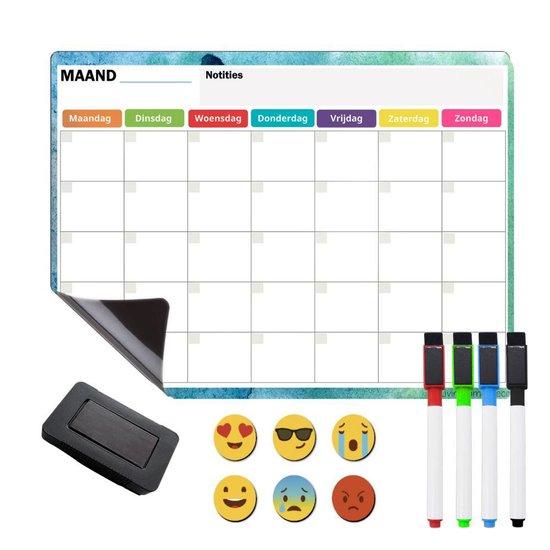 Magnetische Weekplanner Whiteboard - Koelkast Maandplanner - Magnetische Kalender Kind - Familieplanner en Gezinsplanner - Whiteboard Set met 4 Magnetische Markers, Wisser en 6 Pictogrammen - 42x30cm