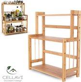 CELLAVI Duurzaam Kruidenrek Staand van Bamboe - Keukenrek Verstelbaar - Keuken Accessoires - Stevige Constructie - Multifunctioneel en Waterafstotend
