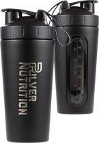 Pulver Premium RVS Shakebeker & Thermosbeker – Proteïne Shaker – Shake - BPA Vrij – 1000 ml - Shaker - Zwart