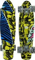 Sajan Skateboard - LED Wielen - 22.5 inch - Camouflage Blauw-Geel - Penny Board - Diverse Kleuren