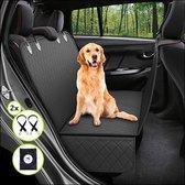 Premium Hondendeken auto achterbank met kijkvenster - Inclusief 2 hondenriemen en E-Book - Autodeken hond - Hondenmand auto - Zwart