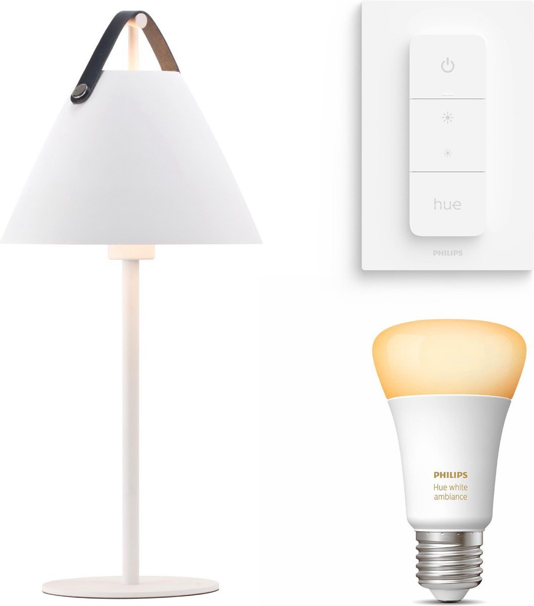 Nordlux Strap tafellamp - wit - 1 lichtpunt - Incl. Philips Hue White Ambiance E27 & dimmer