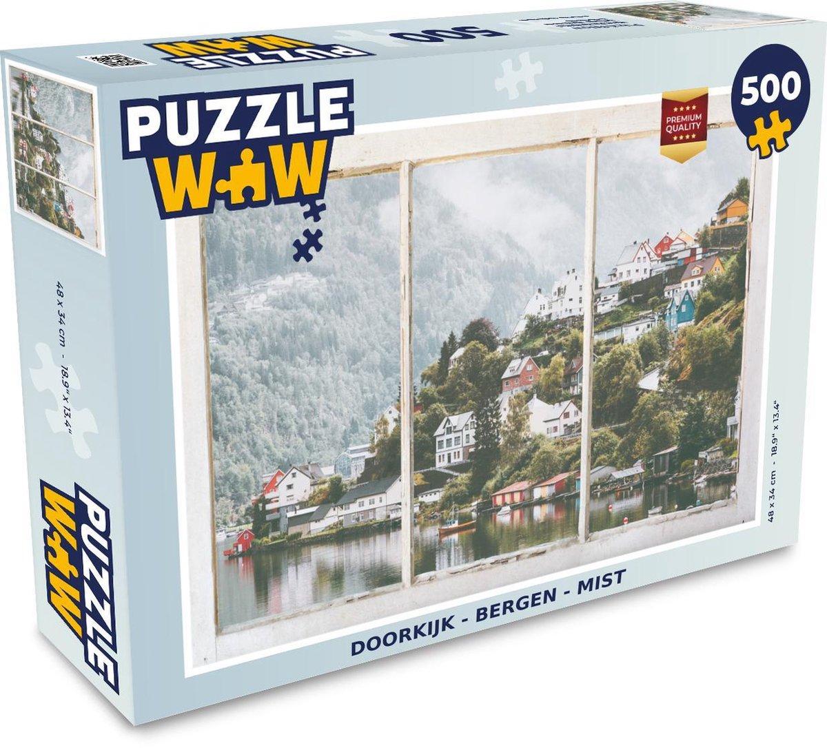 Puzzel Doorkijk - Berg - Mist - Legpuzzel - Puzzel 500 stukjes