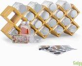 Gadgy Bamboe Kruidenrek Staand en Ophangbaar + 18 glazen Kruidenpotjes met Deksel, Labels en marker