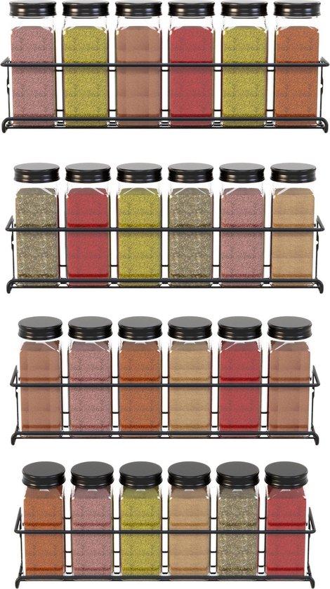 Noswo Kruidenrek Ophangbaar- 4 Stuks - Kruidenrek Voor Kruidenpotjes - Keukenrek Hangend - RVS - Zwart