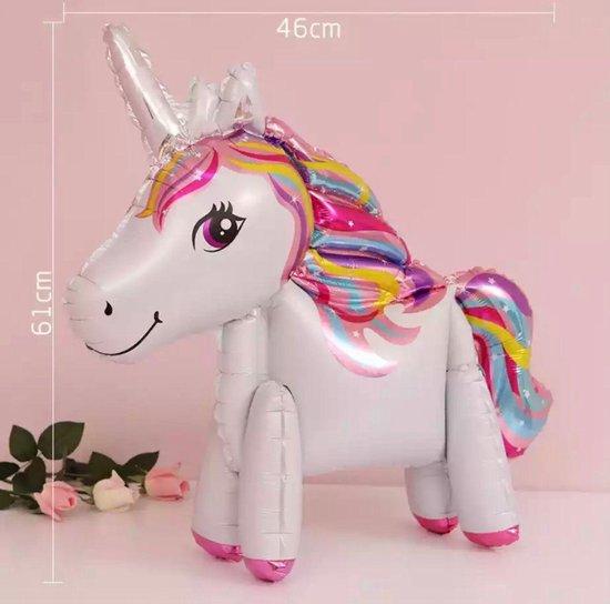 Unicorn Ballon - 3D Ballon Inclusief Opblaasrietje - Ballonnen - Ballonnen Verjaardag - Helium Ballonnen - Folieballon - Paarden - Pony - Eenhoorn - Unicorn Versiering - Unicorn - Wit & Roze