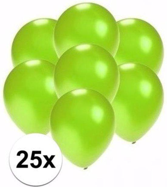 25x stuks kleine metallic groene party ballonnen 13 cm - Feestartikelen groen