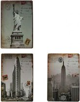 Drie Amerikaanse retro wandborden, metaal