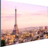 Zonsondergang over Parijs Aluminium 90x60 cm - Foto print op Aluminium (metaal wanddecoratie)