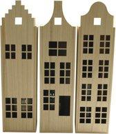 Wijnkist grachtenpand (set van 3 stuks) - Grachtenpandjes - Holland huisjes - Hollandse cadeautjes - Souvenir - Kersthuisjes - Relatiegeschenk - Housewarming cadeau - Nieuwe woning