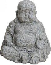 Boeddha beeldje zittend grijs polystone 31 cm - Tuin decoratie/woonaccessoires Boeddha beelden