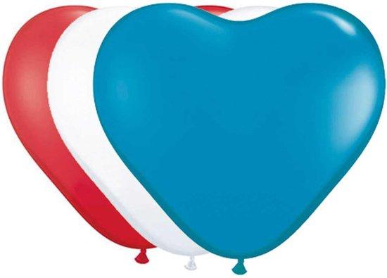 Hartvormige Ballonnen rood, roze, wit - 8 stuks