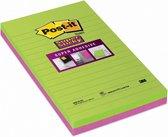 Post-it® Super Sticky Notes, Limoen,Fuchsia, Gelijnd, 125mm x 200 mm, 2 Blokken, 45 Blaadjes/Blok