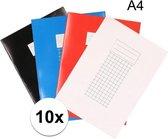 10x A4 ruitjes schriften - 10 mm - schoolschriften / wiskunde schriftjes