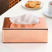 Rosé Gouden Kleurige  Tissuedoos - Tissue Houder Doos Box - RVS Look Tissuebox Overzetdoos