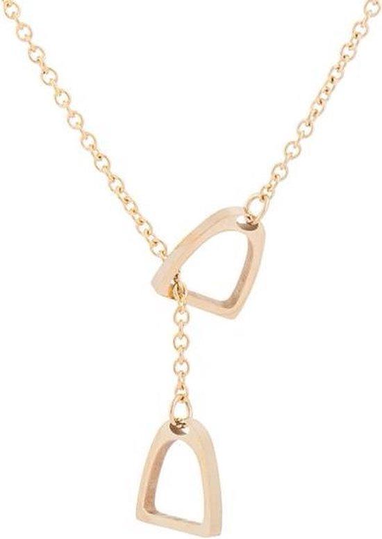 24/7 Jewelry Collection Hoefijzer Ketting - Paard - Lasso - Lariat - Goudkleurig