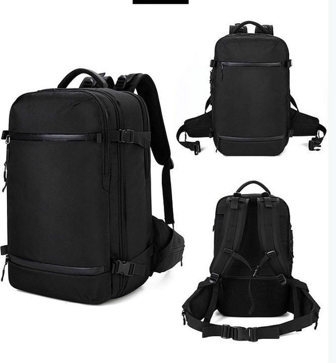 Backpack cabin size black with usb port - Rugzak vliegtuig 51 x 33 x 21 cm - Multifunctioneel en ver