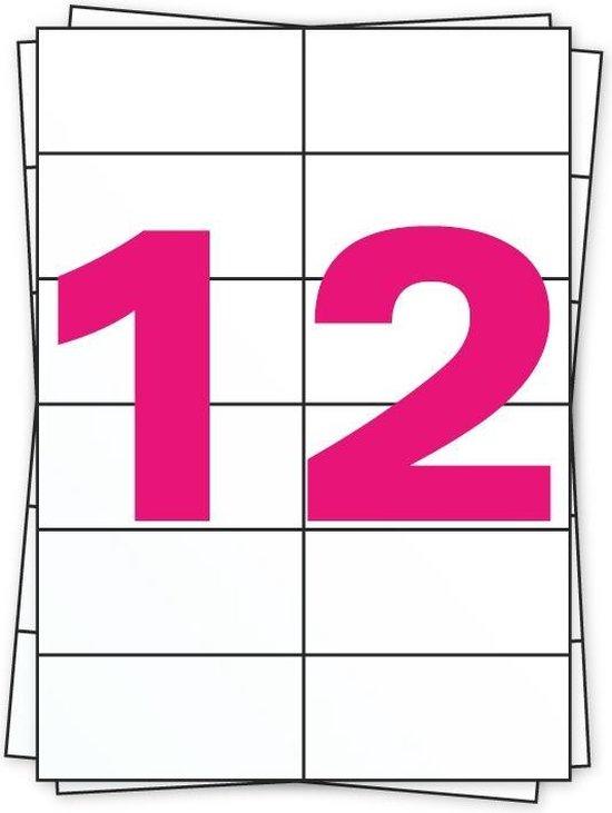 10 x A4 Etiketten 12/vel 105mm x 49mm - Verpakt per 100 (prijs per doos)