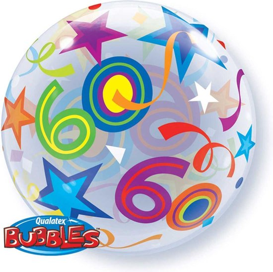 Folieballon - 60 Jaar - Bubble - 56cm - Zonder vulling