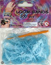Bandjes Loom Bands 300 stuks: glitter blauw (37100)