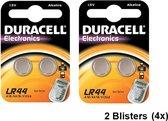 2 Blisters (4 stuks) - Duracell G13 / LR44 / A76 knoopcel