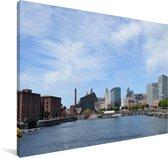 De haven van het Engelse Liverpool Canvas 30x20 cm - klein - Foto print op Canvas schilderij (Wanddecoratie woonkamer / slaapkamer) / Europese steden Canvas Schilderijen