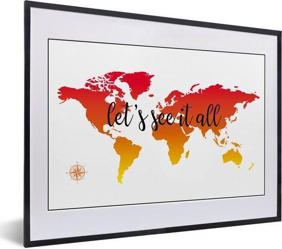 Foto in lijst - Wereldkaart met zonsondergang kleuren en de zwarte tekst fotolijst zwart met witte passe-partout klein 40x30 cm - Poster in lijst (Wanddecoratie woonkamer / slaapkamer)