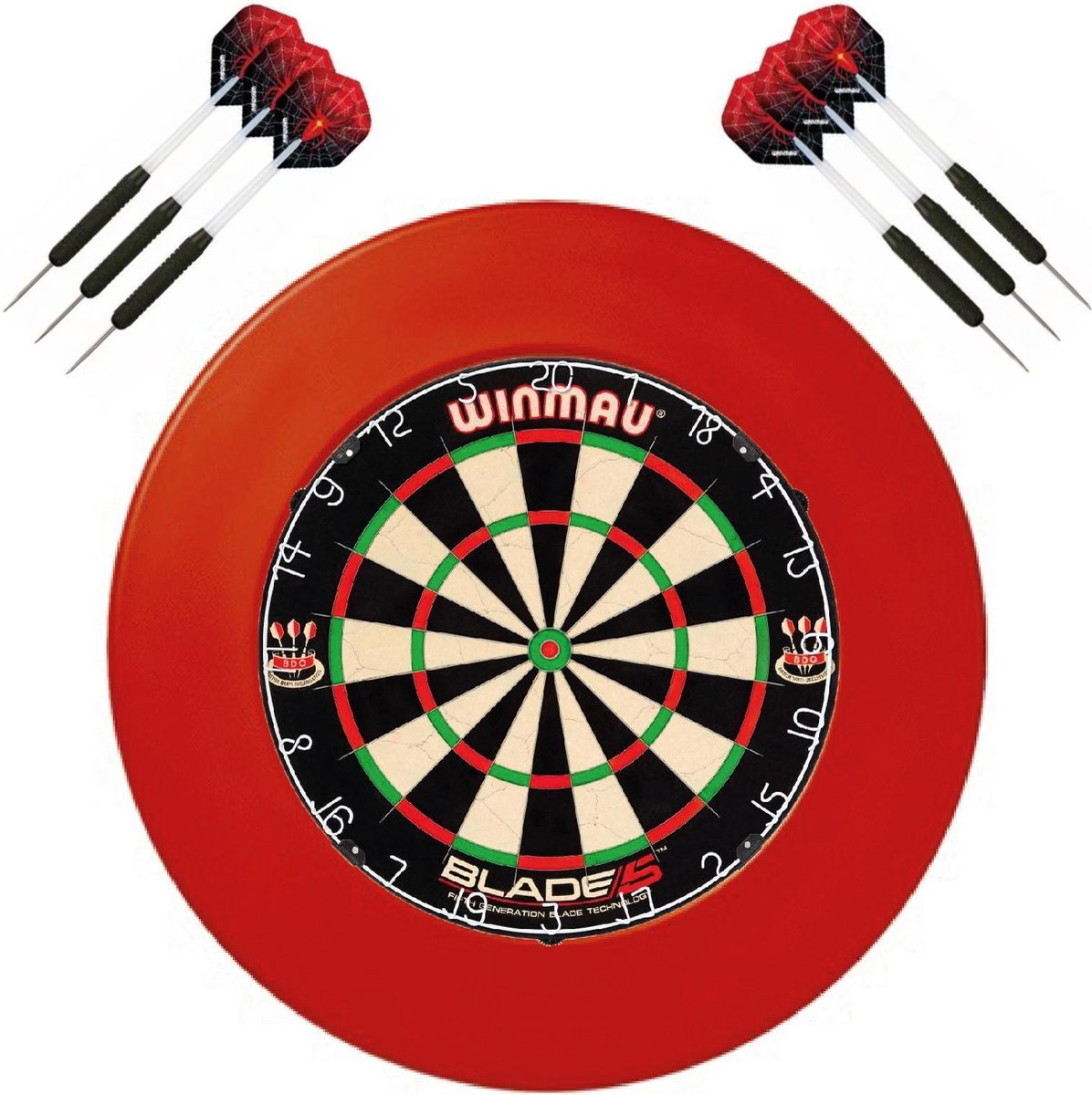 Winmau set - Winmau Blade 5 - dartbord - plus surround ring rood - plus 2 sets - dartpijlen