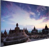 Borobudur bij zonsopkomst Aluminium 30x20 cm - klein - Foto print op Aluminium (metaal wanddecoratie)