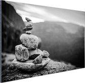 Balancerende stenen in Noorwegen Aluminium 30x20 cm - klein - Foto print op Aluminium (metaal wanddecoratie)