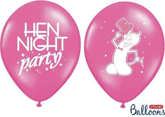 Ballonnen 30cm, Hen night party, P. Hot roze (1 zakje met 50 stuks)