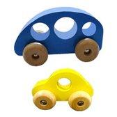 Houten peuter speelgoed Grijpauto, set van 2 auto's