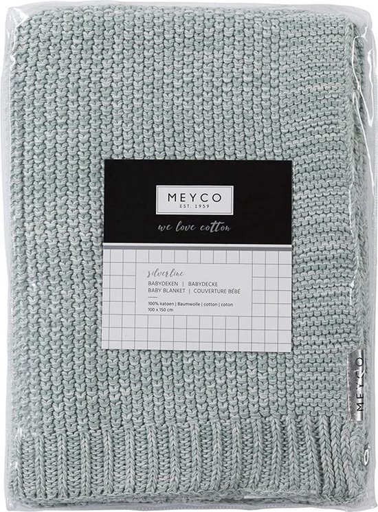 Meyco Silverline Relief Mixed ledikantdeken - 100 x 150 cm - stone green