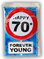 Happy Birthday kaart met button 70 jaar