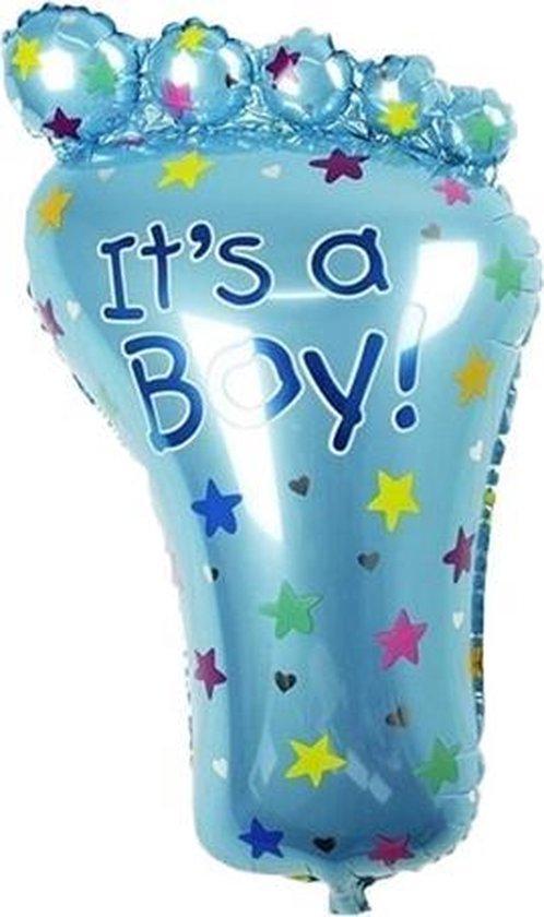 Grote XL blauwe voet ballon its a boy voor geboorte jongen 79 cm
