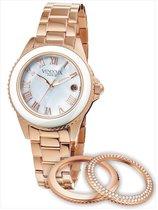 VENDOUX The Triple Rose Gold/White MR73000-02 - Horloge - Dames - Rosékleurig - Ø 38mm
