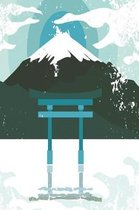 Japanese shrine with mountain in blue