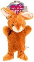 Pluche handpop konijn 21 cm
