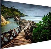 Indonesische brug Aluminium 90x60 cm - Foto print op Aluminium (metaal wanddecoratie)