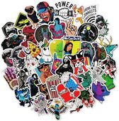 Mix van 50 coole stickers voor laptop, telefoon, skateboard, koelkast, koffer, douche etc. Hoge kwaliteit PVC Stickers, watervast en UV bestendig