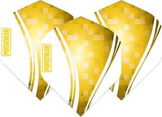 Pentathlon Wave - sterke flights - Geel  - Dragon darts - 1 Sets (3 stuks) - darts flights