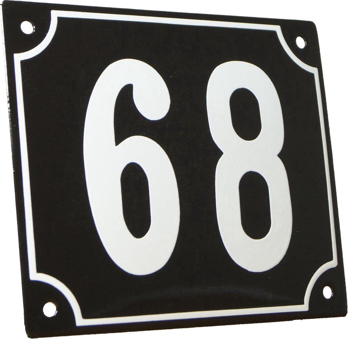 Emaille huisnummer zwart/wit groot nr. 68 18x15cm