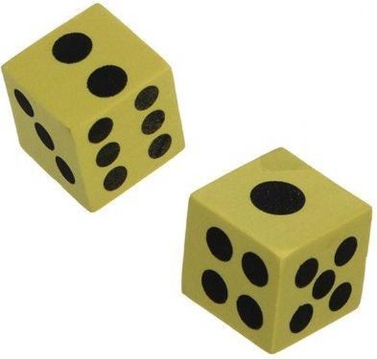 Thumbnail van een extra afbeelding van het spel 10 stuks foam dobbelstenen diverse kleuren 4cm