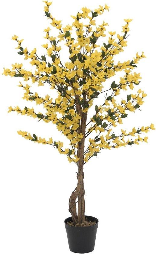 Europalms Chinees klokje kunstboom voor binnen met 4 stammen - geel - 120 cm - Forsythia - bloesemboom