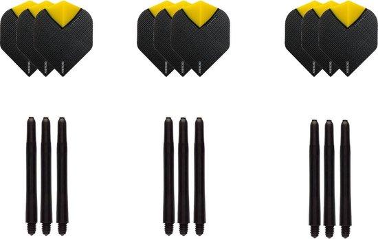 Dragon darts - Dartset - 3 sets dart flights geel en 3 sets nylon darts shafts - 18 pcs - darts flights