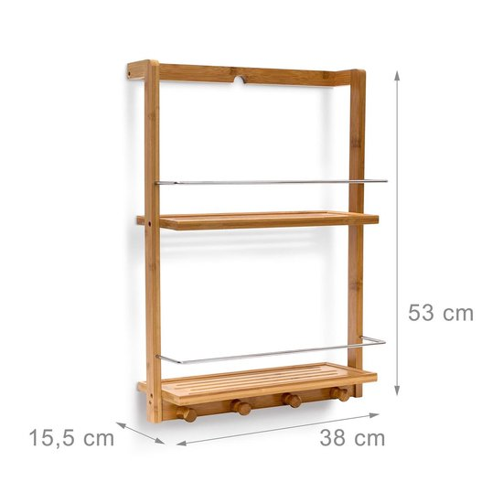 relaxdays badkamerrek bamboe hangend opbergrek douchrek keukenrek hout 2 planken