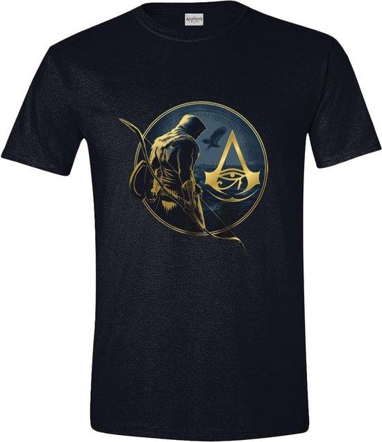 Assassin's Creed: Origins - Bayek and Logo Men T-Shirt - Zwart - Maat XXL