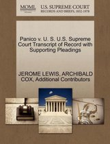 Boek cover Panico V. U. S. U.S. Supreme Court Transcript of Record with Supporting Pleadings van PH D Jerome Lewis